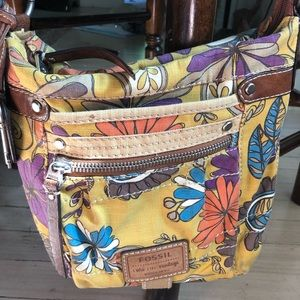 Fossil Crossbody Shoulder Bag Floral Hippie Purse